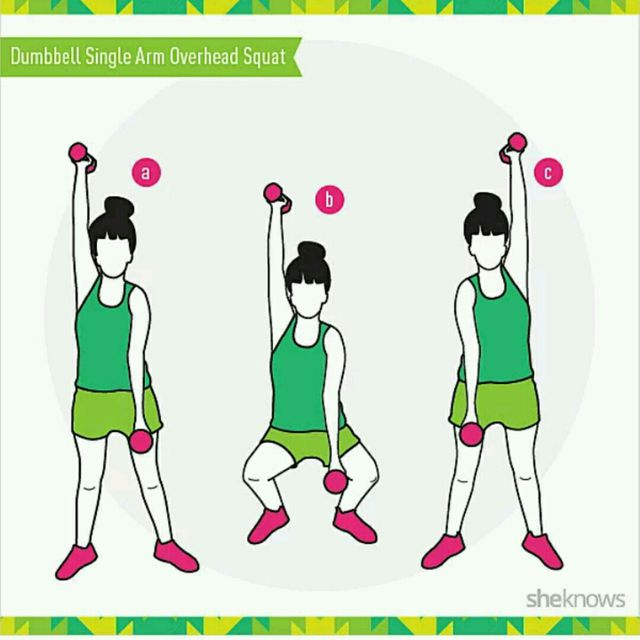 How to do: Dumbbell Single Arm Overhead Squat - Step 1
