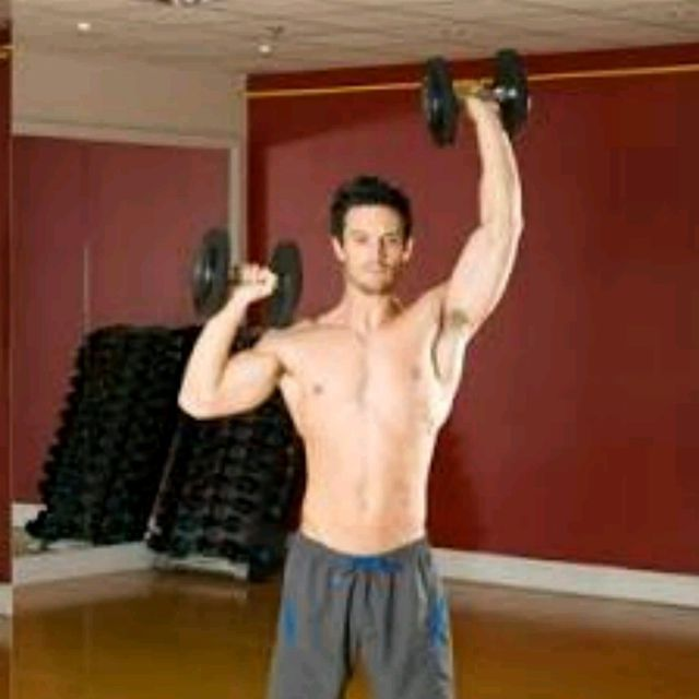 How to do: Standing Alternating Dumbell Press - Step 2