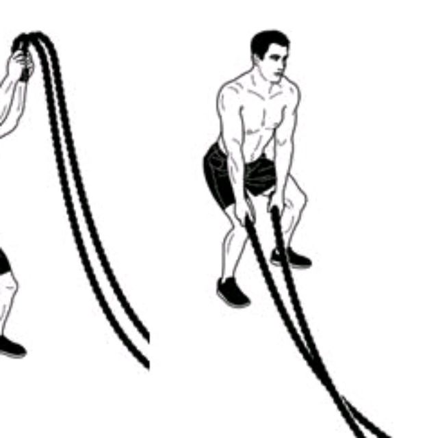 How to do: Battle Rope Woodchop Slams - Step 2