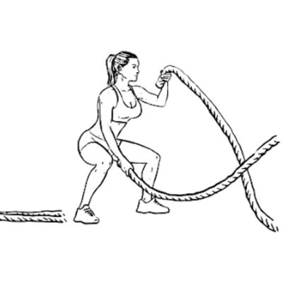 Battle Rope Alternating Waves With Squats