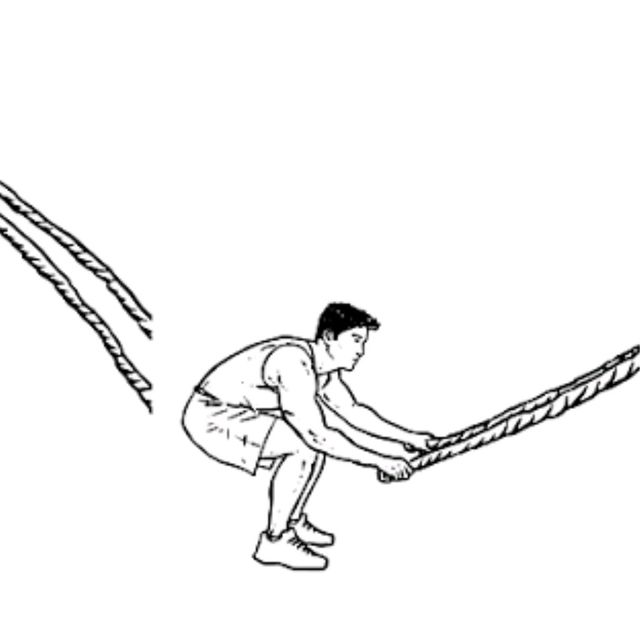 How to do: Battle Rope Double Wave With Squat Jumps - Step 1