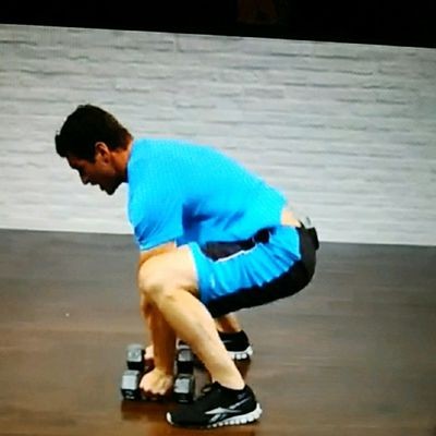Pushup position 3lb Dumbbell row with Squat thrust