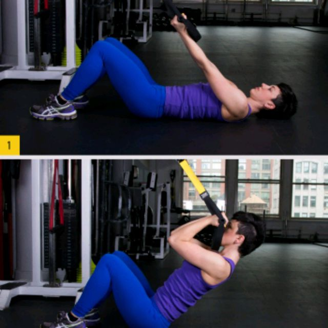 How to do: TRX Crunch And Curl - Step 1