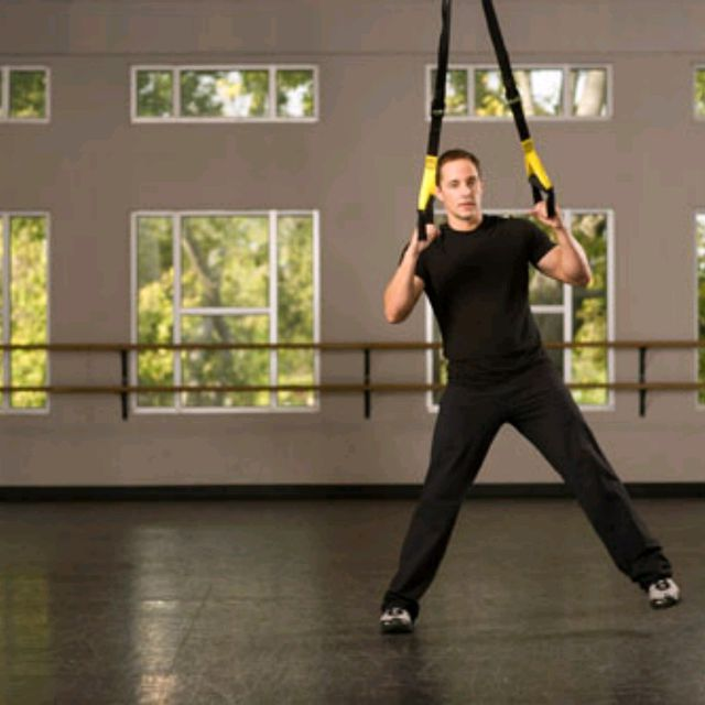 How to do: TRX Assisted Side Lunge with Arm Raise - Step 2