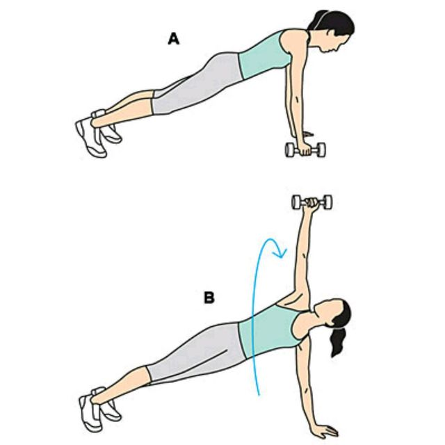 How to do: Dumbbell Plank Rotation - Step 1