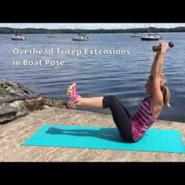 How to do: Overhead Tricep Extension In Boat Pose - Step 1