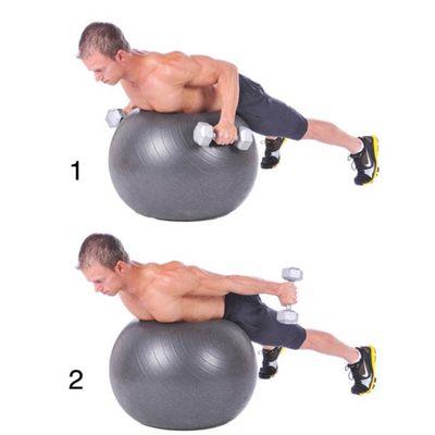 Extencion De Triceps Con Mancuernas Sobre Pelota