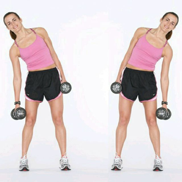 How to do: Alternating Dumbbell Side Bends - Step 1