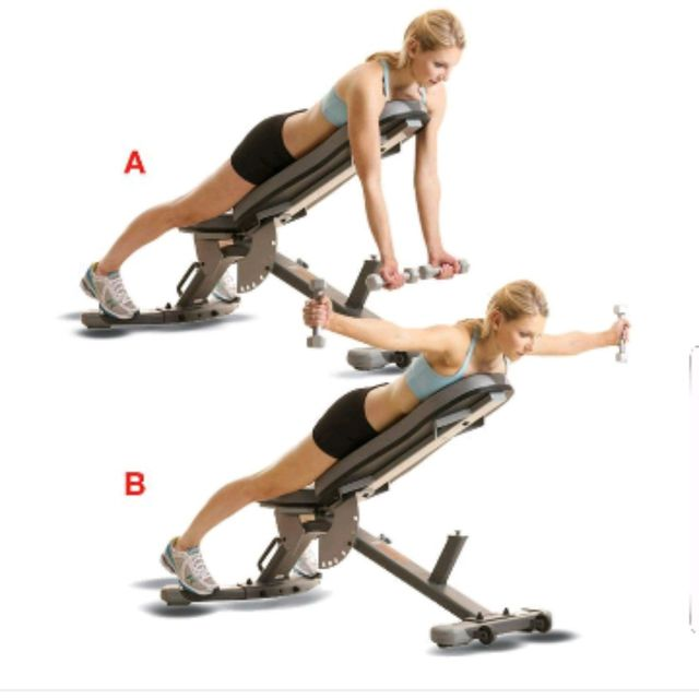 How to do: Dumbbell Rear Fly On Incline - Step 1
