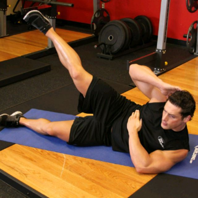 How to do: Lying Side Crunch With Leg Raises - Step 1