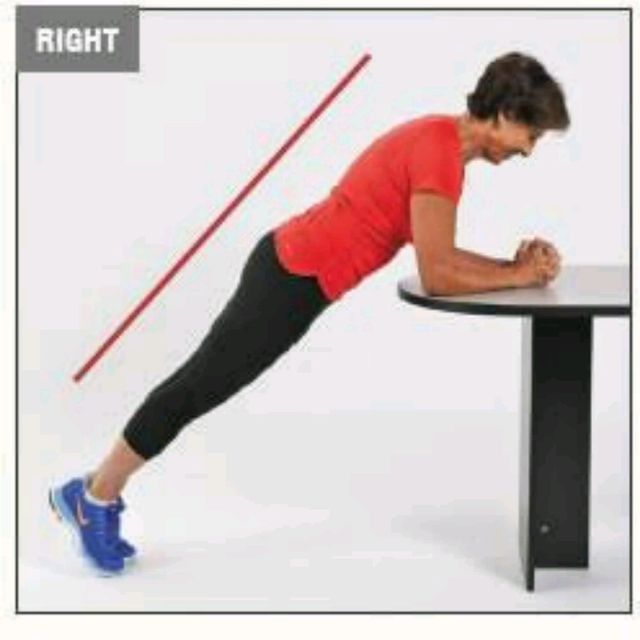How to do: Front Plank On Table - Step 1
