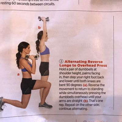 Alternating Reverse Lunge To Overhead Press
