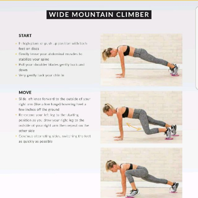 How to do: Wide Mountain Climbers With Glide Discs - Step 1