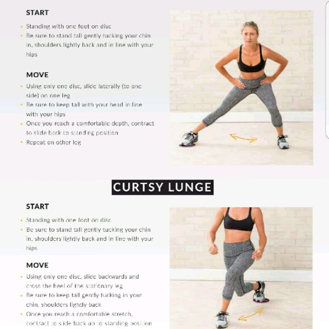 How to do: Side Lunge To Curtsy Lunge Gliding Discs - Step 1