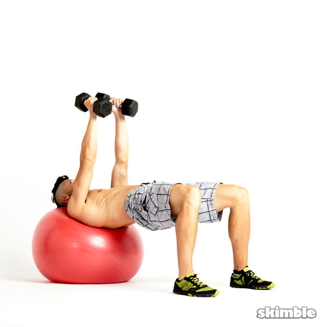 How to do: Dumbbell Fly on Ball - Step 1