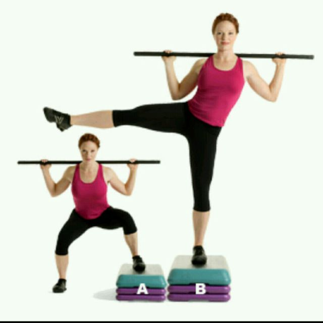 How to do: Right Step Up Squat With Lateral Leg Raise - Step 1