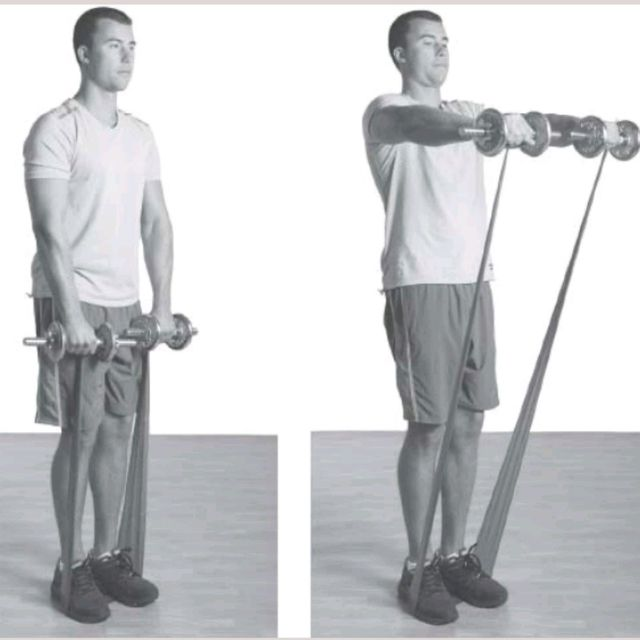 How to do: Dual Resistance Front Raise - Step 1