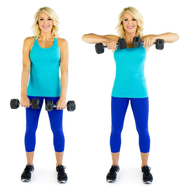 How to do: Upright Row With Dumbbell - Step 2