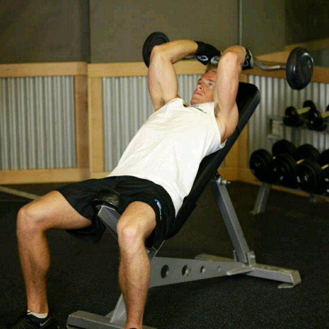 How to do: Incline Barbell Triceps Extension - Step 2