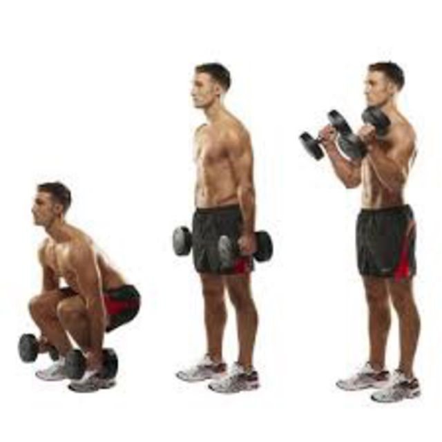How to do: Dumbell Squat To Curl To Press - Step 1
