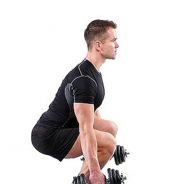 How to do: Dumbell Squat To Curl To Press - Step 2