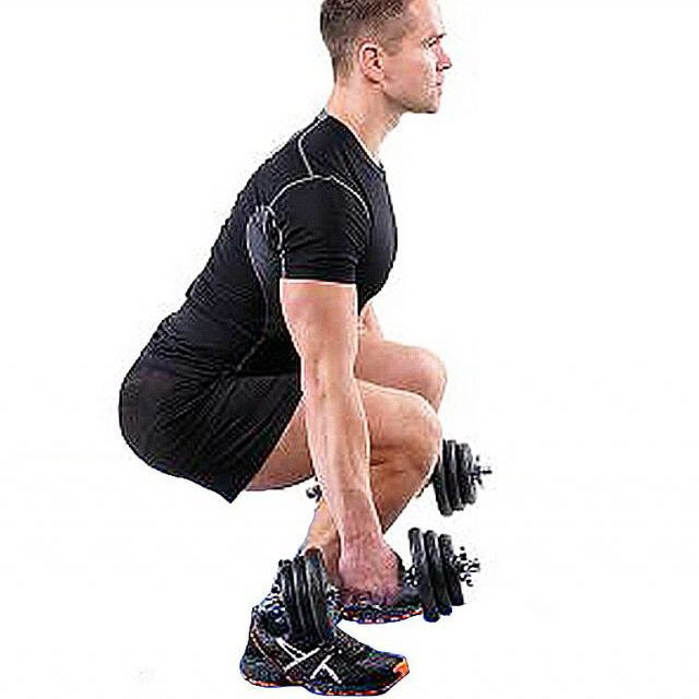 How to do: Dumbell Squat To Curl To Press - Step 3