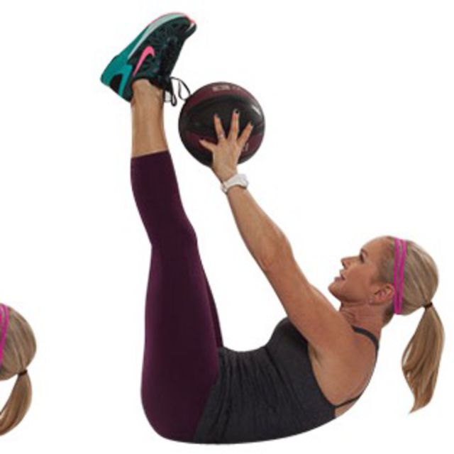 How to do: Toe Touches with Medicine Ball - Step 2