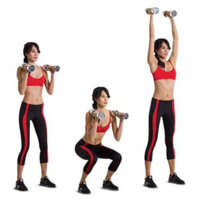 How to do: Squat With Dumbbell Press - Step 1