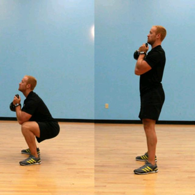 How to do: Kettlebell Squat And Press - Step 1