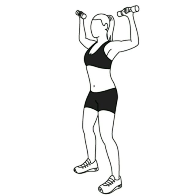 How to do: Elbow Squeeze To Shoulder Press - Step 1