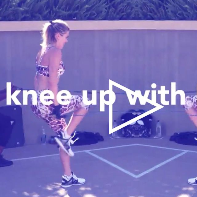 How to do: Knee Up With Reverse Lunge And Tricep Pulldown - Step 2