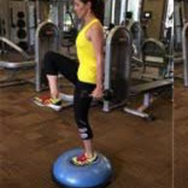 How to do: Bosu Ball Dumbbell Reverse Lunge - Step 1