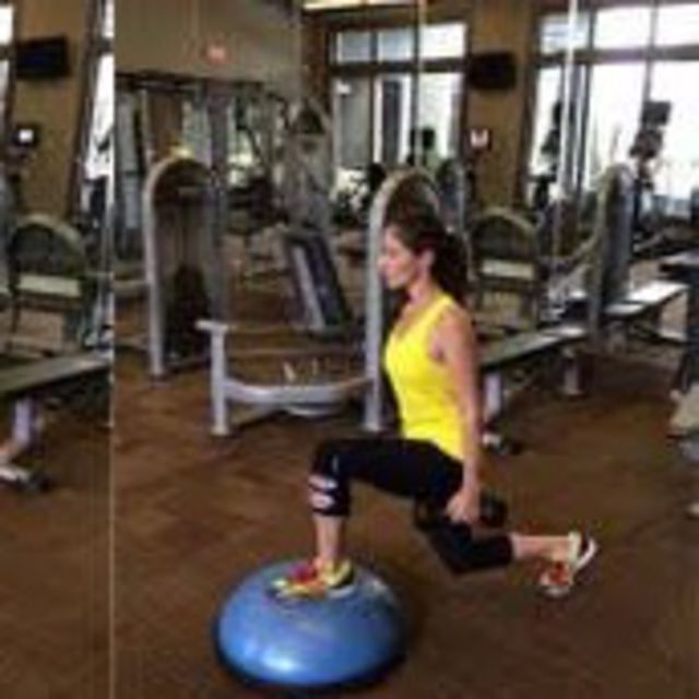How to do: Bosu Ball Dumbbell Reverse Lunge - Step 2