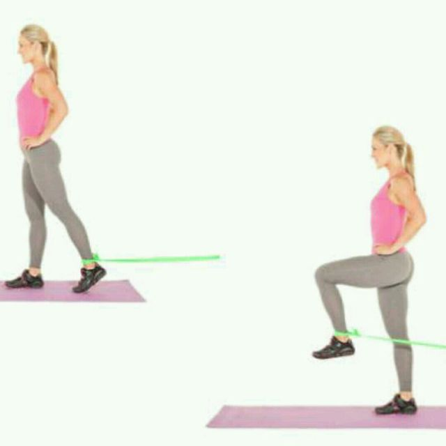 How to do: Standing Hip Flexion w Band - Step 1