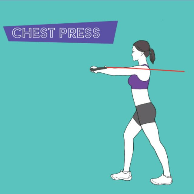 How to do: Chest Press W/Band - Step 1