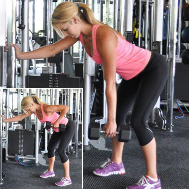 How to do: Single arm Dumbbell Rows - Step 1