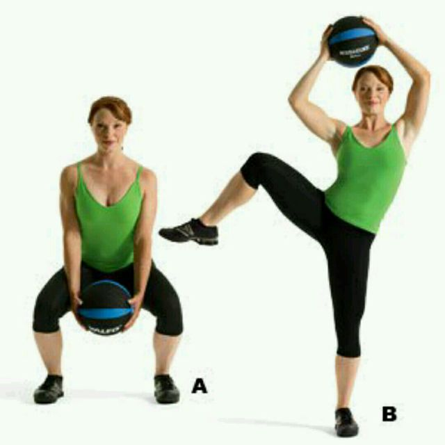 Stability Ball Side Lift: Medicine Ball Squat With Side Crunch