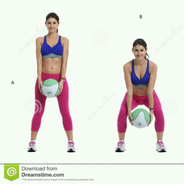 Medicine Ball Squat and Rotation - Exercise How-to - Workout Trainer