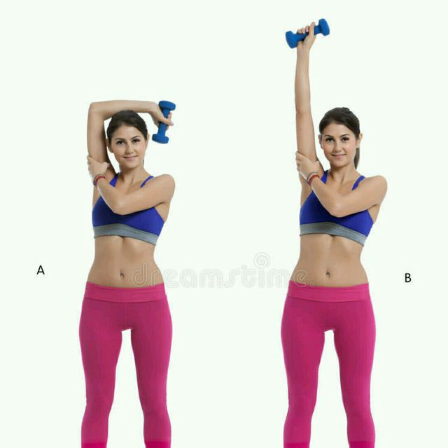 How to do: Right  Dumbbell Overhead Side Press - Step 1