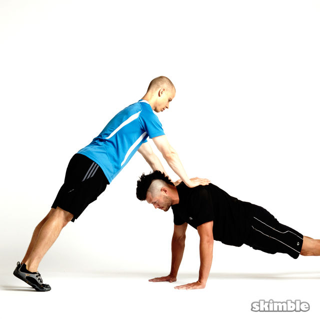How to do: Partner Plank Push-Ups - Step 1