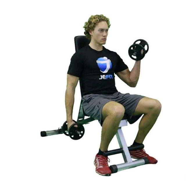 Single Arm Dumbell Bench Press: Alternate Seated Dumbbell Curl