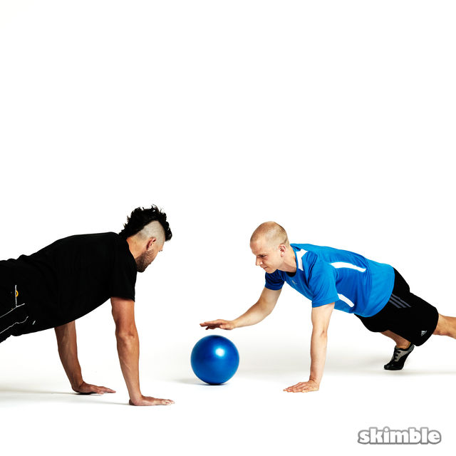 How to do: Plank Ball Pass with Partner - Step 7
