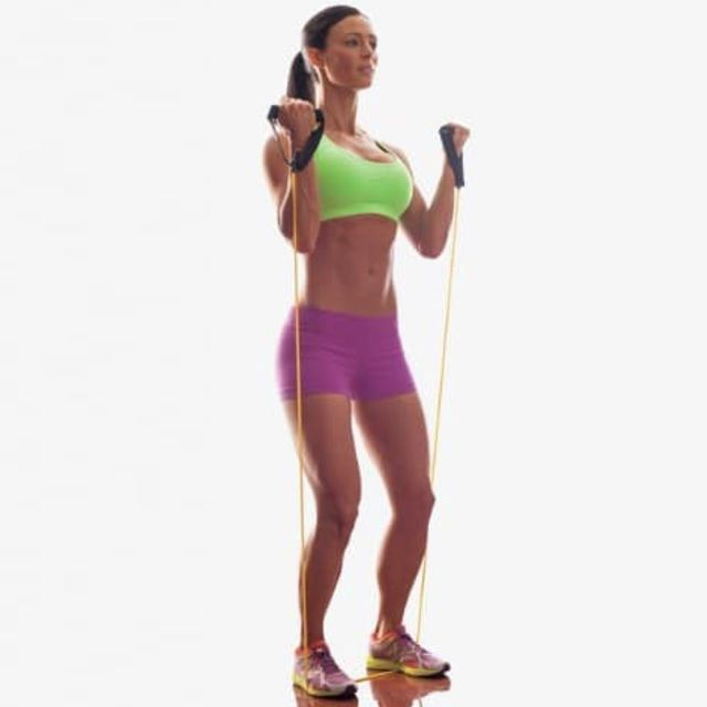 Bicep Curl With Resistance Band Traditional Exercise How To