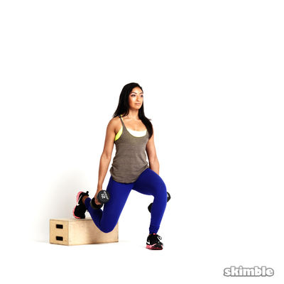 Left Bulgarian Split Squats with Dumbbells