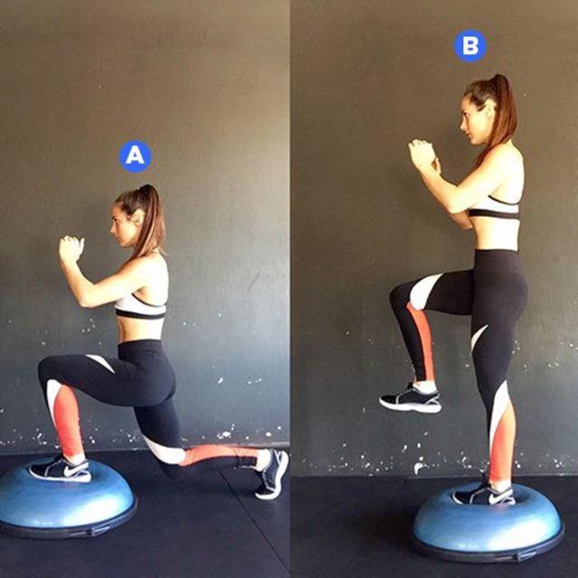Bosu Ball One Leg Squat: Reverse Lunge With Knee Raise On Bosu