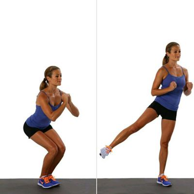 Narrow Squat With Side Leg Lift