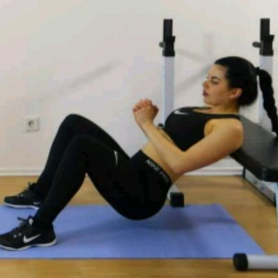 Place Loop Band ABOVE Knees, Sit With Back Against Bench