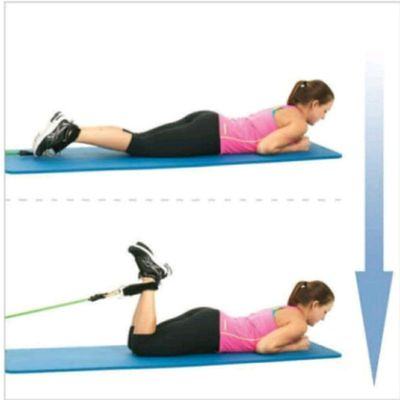 Lying Leg Curls with resistance bands