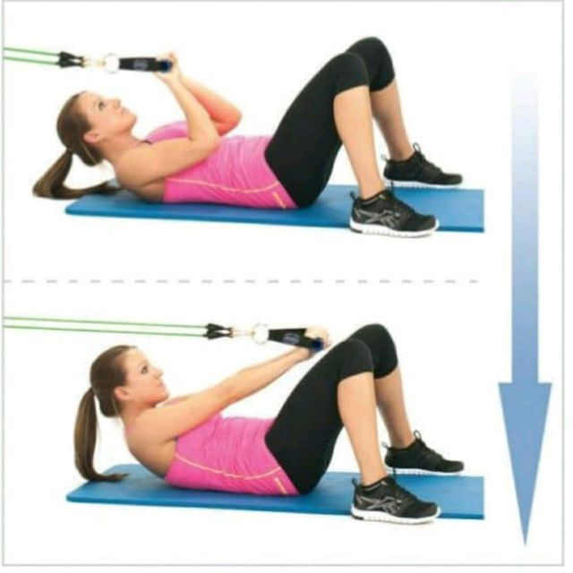 How to do: Ab Curls with resistance bands - Step 1