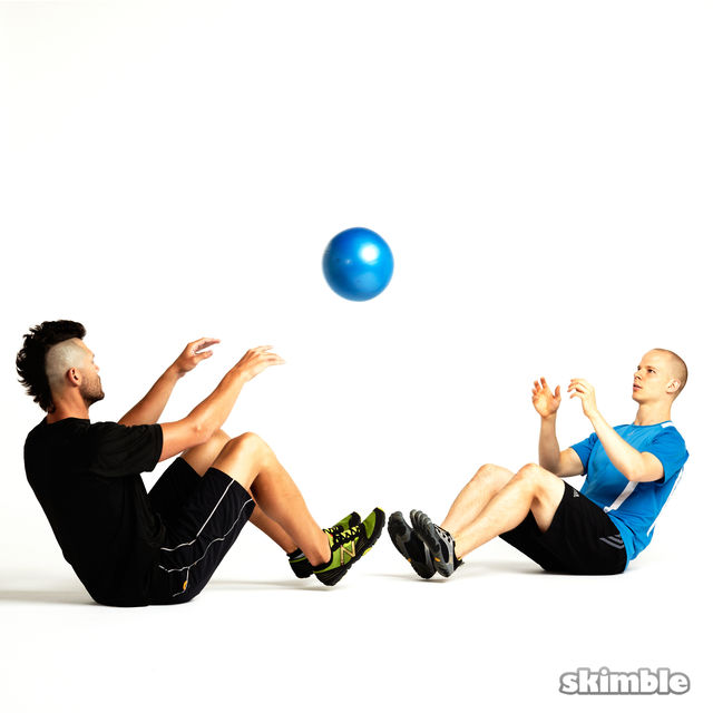 How to do: Seated Ball Toss with Partner - Step 2